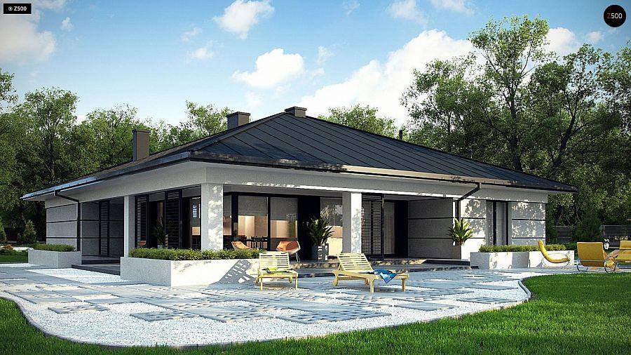 проект одноэтажного уютного дома с гаражом на две машины no 7 432 z378