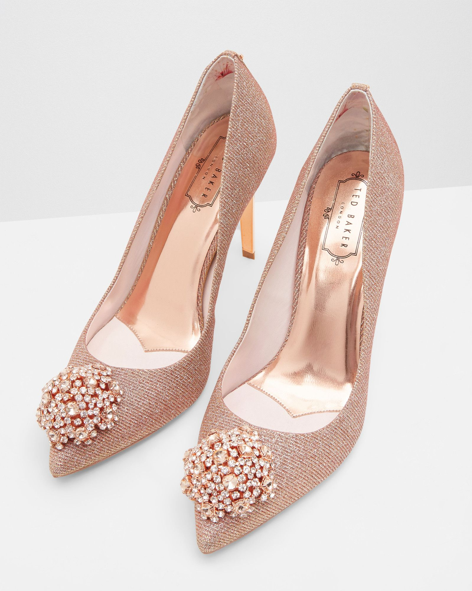 662c1063379f6 PEETCH brooch detail court shoe in Rose Gold by Ted Baker. Beautiful ❤   WedWithTed  tedbaker