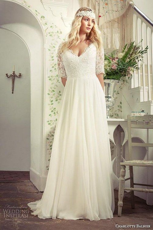 6655e2b53bb Plus Size Beach Wedding Dresses with Sleeves V Neck Sweep Train Ivory  Chiffon Lace Bridal Gowns