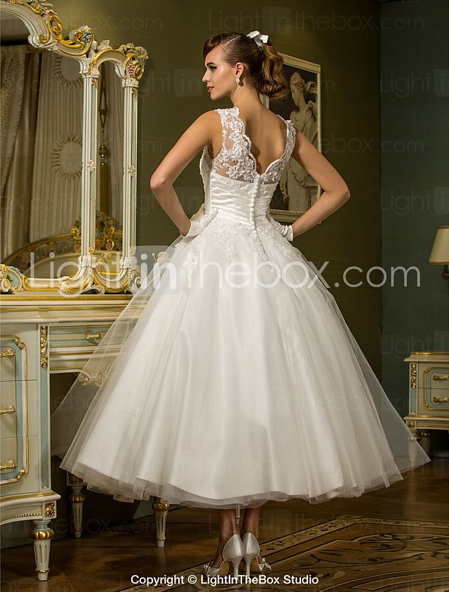 Princess Jewel Neck Ankle Length Lace Over Tulle Made To Measure