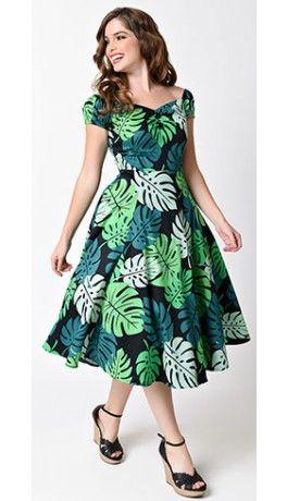 new photos de2be 8ba25 Collectif 1950s Green Tahiti Palm Dolores Cap Sleeve Swing Dress