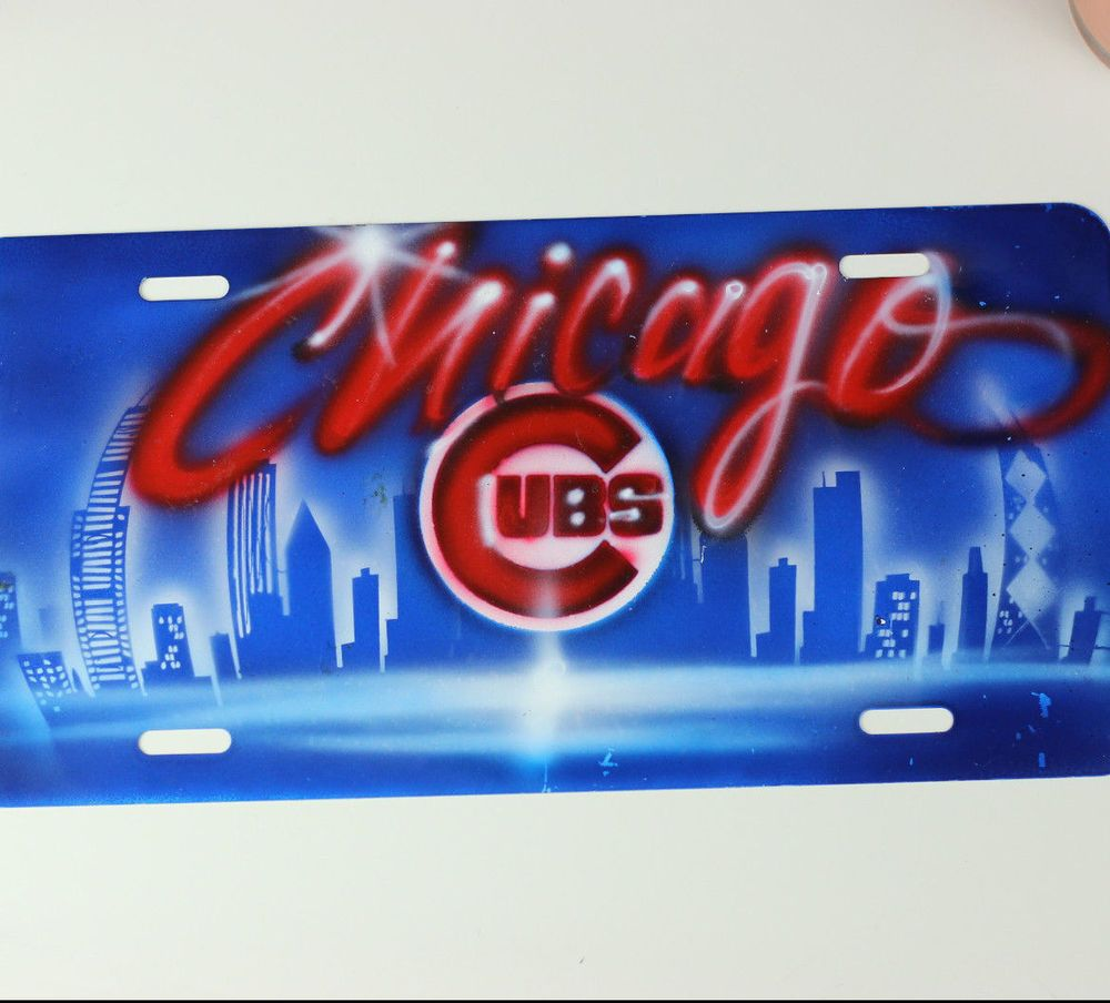Custom Airbrushed  Name Design  Front License Plate for Car   Solid Color Background  Hand-Painted