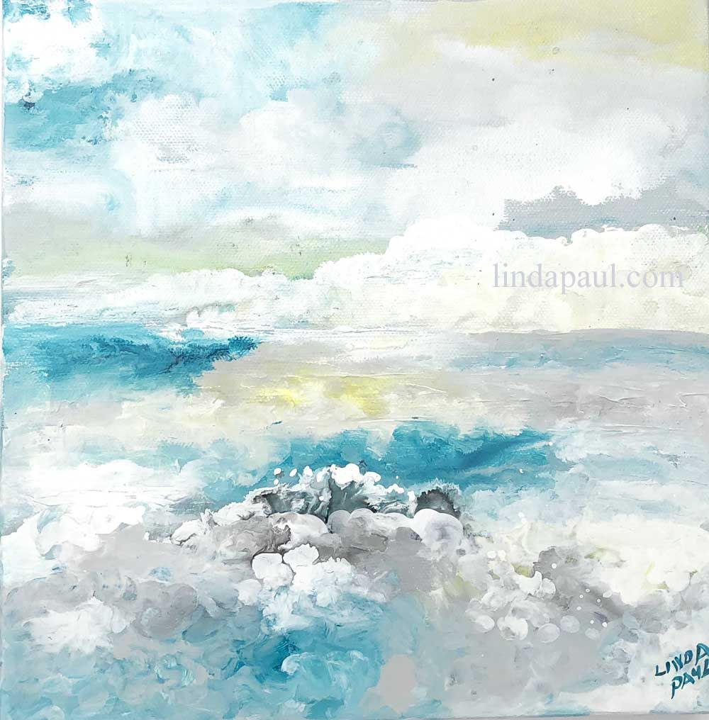 Adrift on the ocean abstract ocean painting turquoise