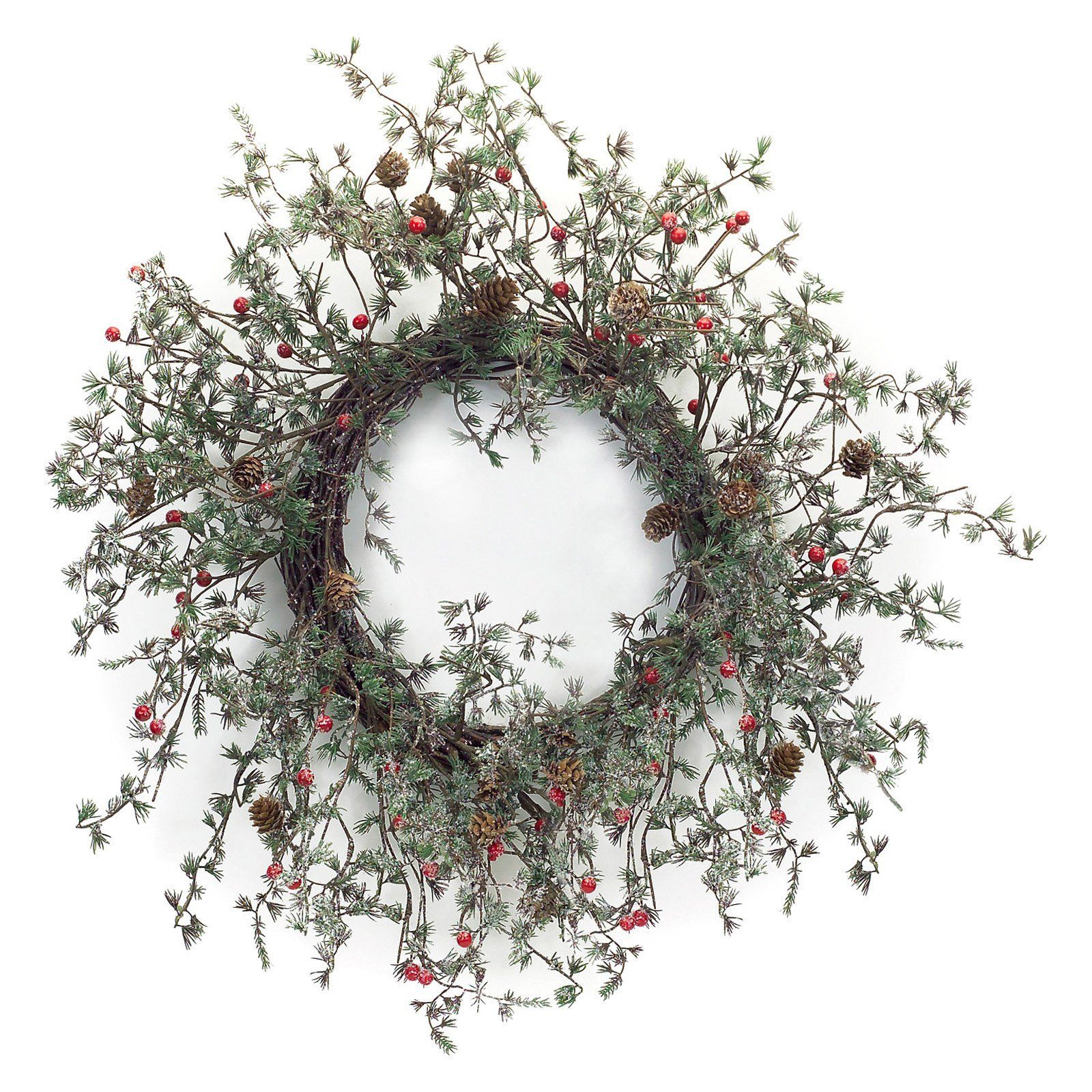 Melrose 26 in Frosted Pine Branch with Berries and Pine Cones Unlit
