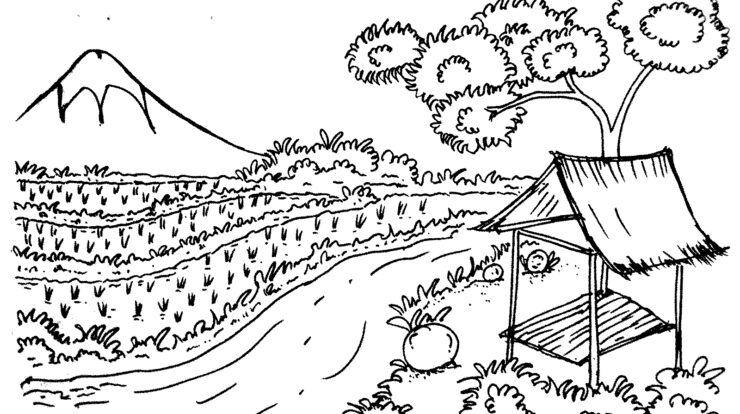Mewarnai Gambar Pemandangan Gunung Dan Sawah Kreasi Warna Di 2020 Gambar Kartun Pemandangan