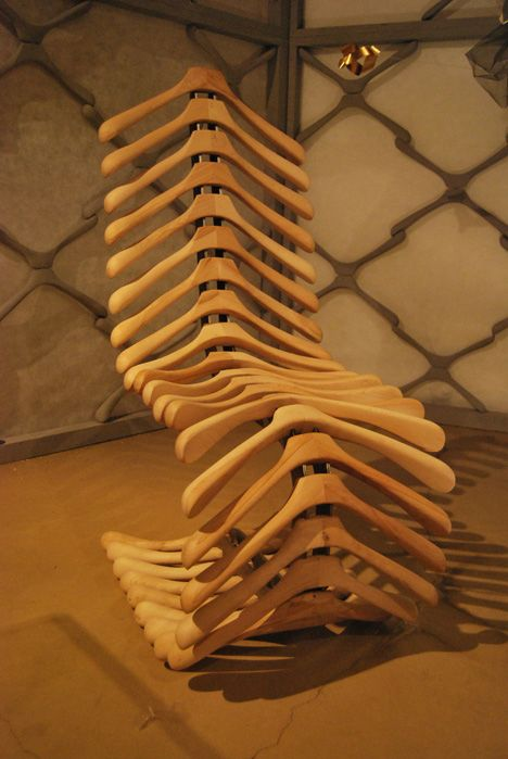 A chair made out of coat hangers!