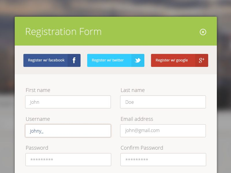 Modal Registration Form  Registration Form Modal Window And Flat