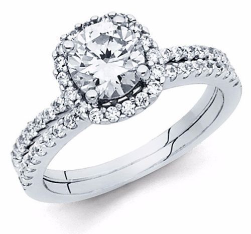 1.70 CT Round Cut Engagement Ring band set in Solid 14k White Gold Bridal Halo