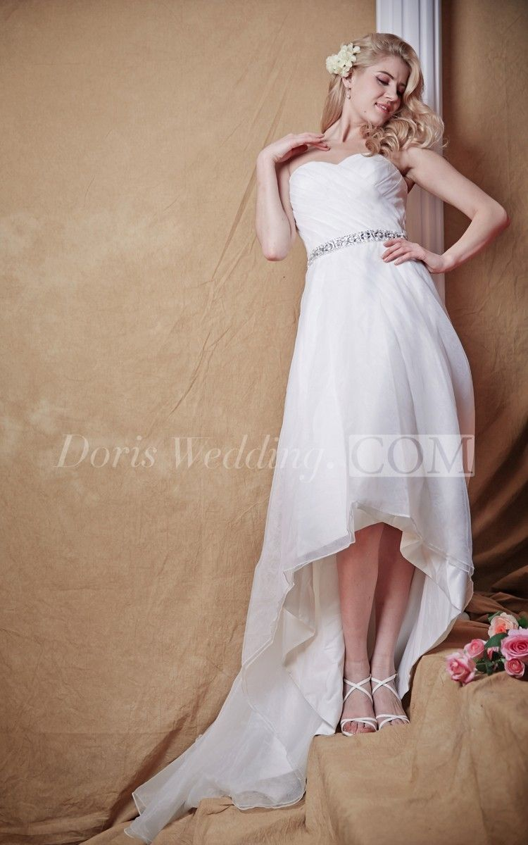 Country high low wedding dresses  Natural Waist With Sparkling Belt and Hi Low Hemline Modern and