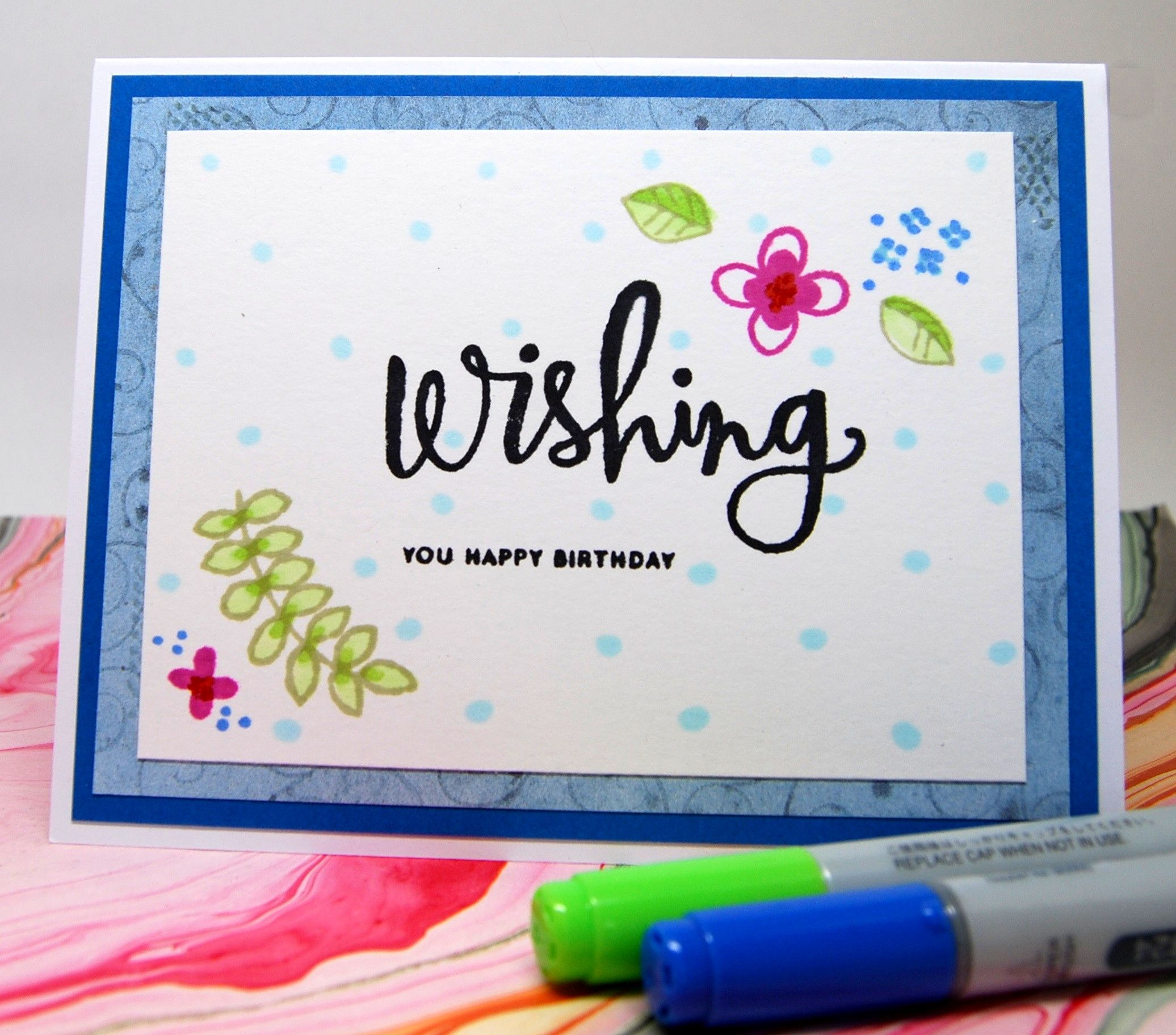 Card Wishing You Happy Birthday Blue On White