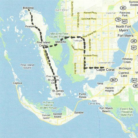 Florida Backroads Travel map of route from Cape Coral to Pine Island