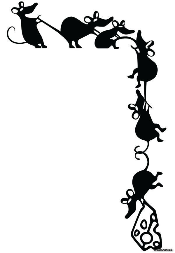 Adorable Climbing Mice Stealing Cheese Whimsical Vinyl