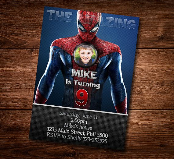Spiderman birthday card customized birthday theme birthday spiderman birthday card customized birthday theme birthday invite card template diy solutioingenieria Gallery