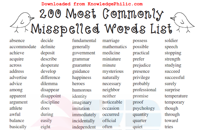 300 Most Commonly Misspelled Words List Pdf Download Misspelled Words Commonly Misspelled Words Word List