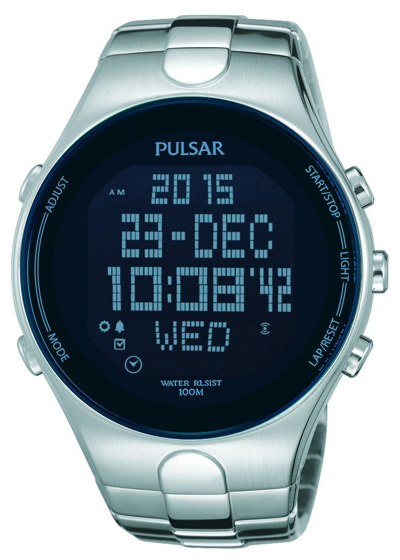 de6fd79be Pulsar PQ2053 Digital Mens Watch World Time Multiple Alarms Stainless Steel