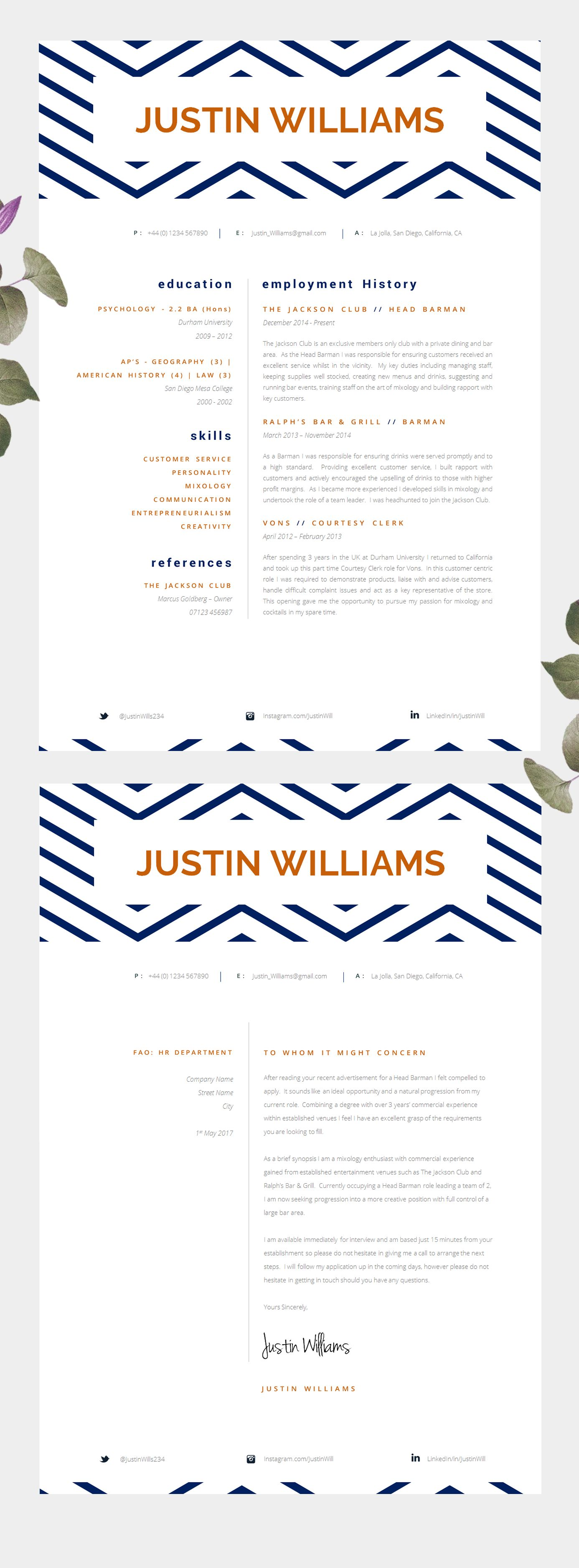 Creative Single Page Resume Template Short Resume Template Perfect For Graduates Students College Leavers Etc Cv Template Aquinas Jobansogning Job Projekter