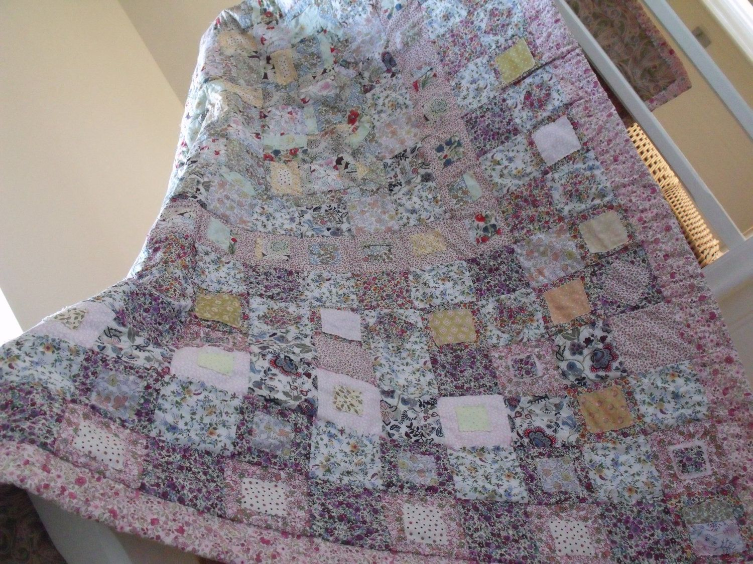 patchwork quilt cottage style shabby chic style quilt handmade ... : patchwork quilt handmade - Adamdwight.com