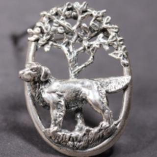Golden Retriever silver BROOCH dog in oval ring