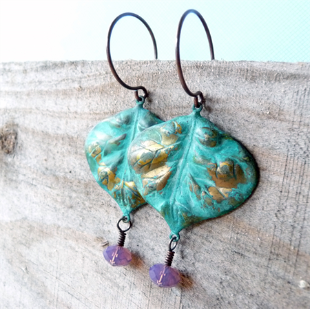 Swarovski Crystal and Verdigris Patina Earrings. Handmade in Australia by Bohemianism. #boho