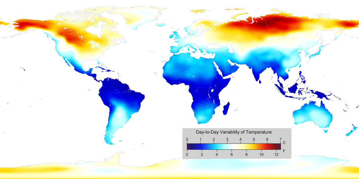 Day to Day Variability of Temperature Around The World