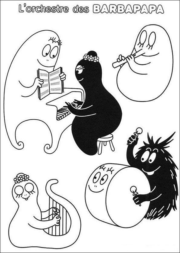 Coloriage barbapapa coloring pages pinterest music education scrapbook and silhouettes - Barbapapa dessin ...