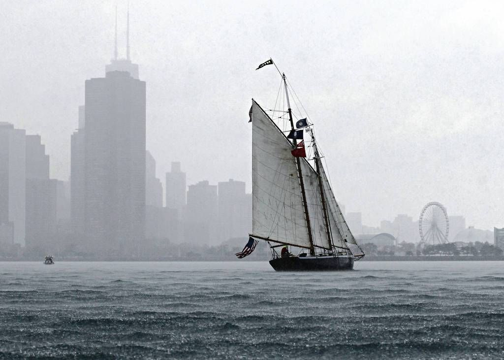 The Hindu approached Navy Pier in the rain during the Tall Ships Parade of Sail.