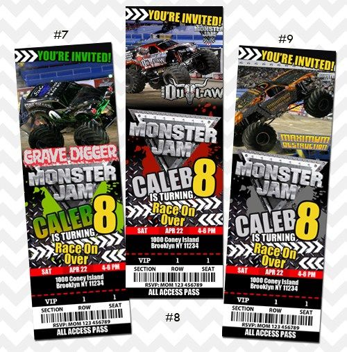 Monster Jam invitation Grave Digger Invitation Monster Jam