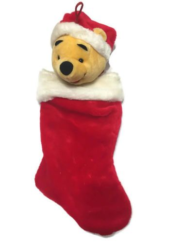 disney winnie the pooh santa hat 3d plush face red christmas stocking vtg