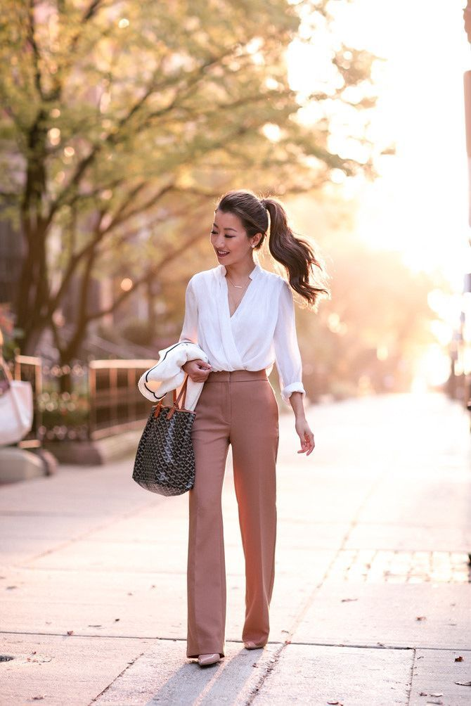 Fall Business Professional Outfit Flare Trousers Extra Pee Boston