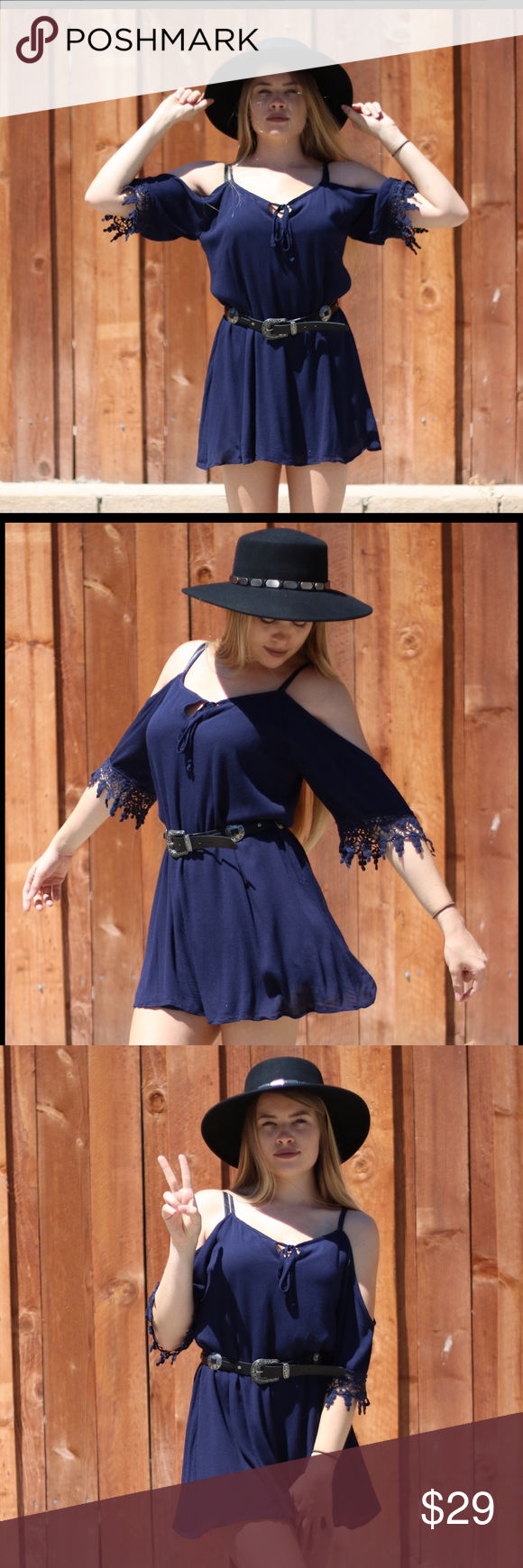 Navy off the shoulder mini Yes fall is apon us, but this number is to cute to pass up. This navy blue of the shoulder dress can play two roles in your wardrobe. While the sun is still giving us summer heat throw on your cute ankle boots and have fun in the sun. Once the chill hits the air put on some fitted flares or tights and wear this cookie as a top. Model is wearing a small. Dresses Mini