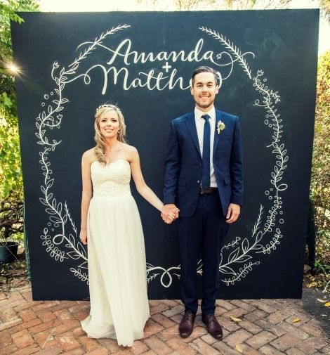 Chalk Board Photo Booth Backdrop With Wedding Couple Just Chalkboard Paint On Wood Or Canvas