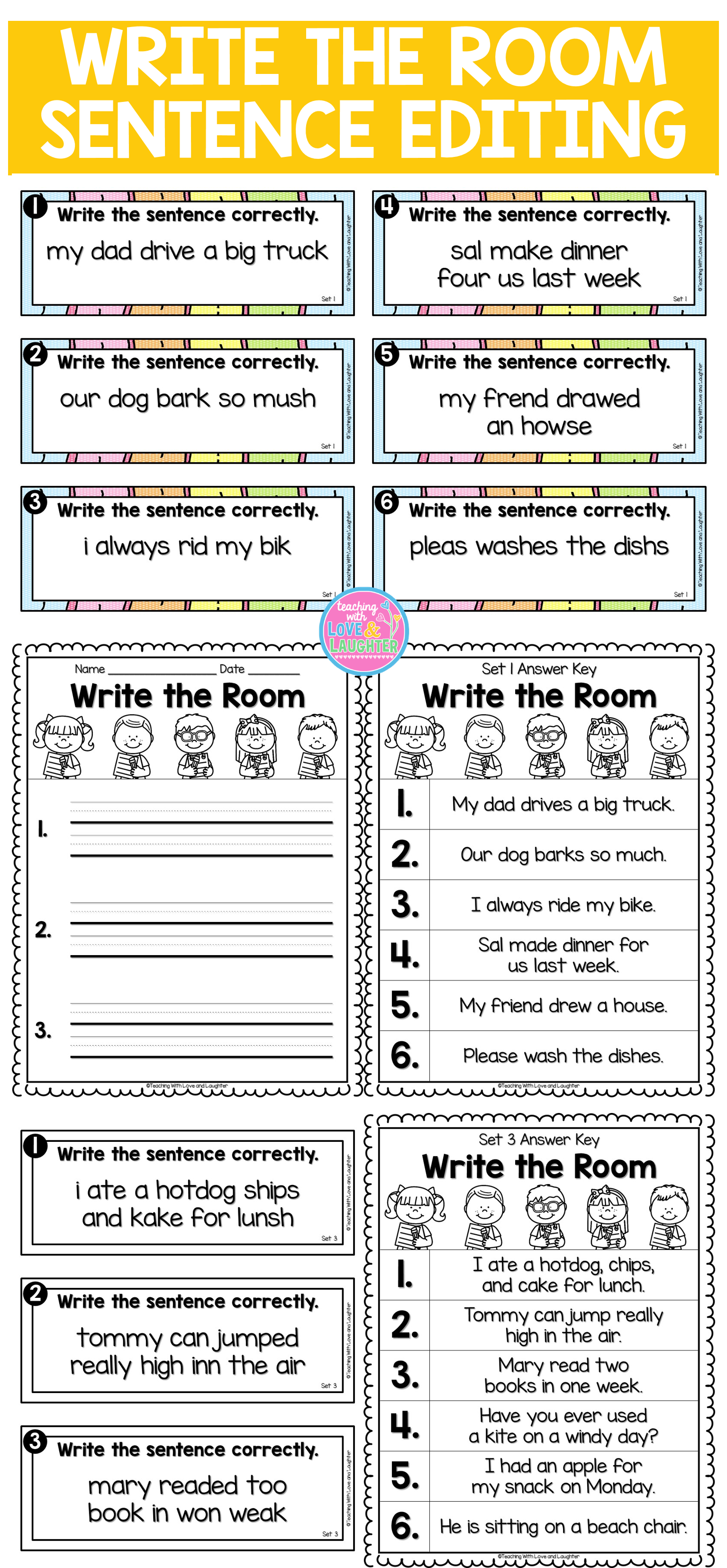 This Write The Room Activity Will Keep Your Students Active And Engaged While They Walk Around The Clas Editing Writing 2nd Grade Writing Kindergarten Writing [ 3308 x 1534 Pixel ]