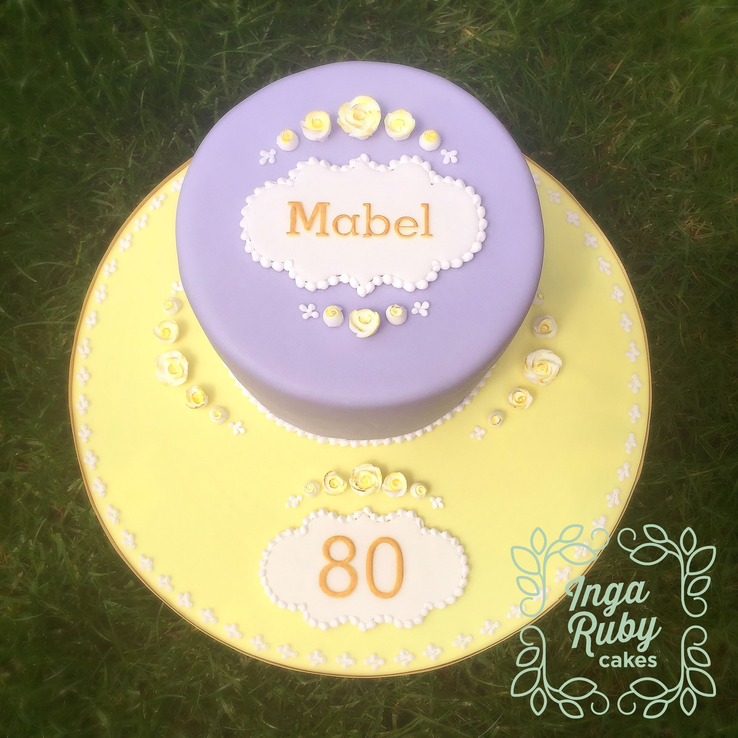 80th Birthday Cake with Royal Icing details
