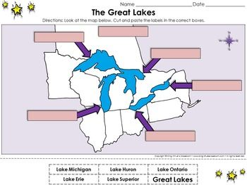 Great Lakes The Great Lakes Cut And Paste Activity King - Editable map of us and great lakes for kids