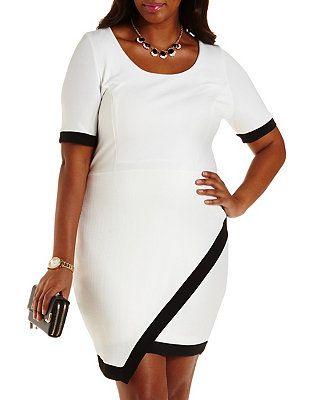 Plus Size Color Block Asymmetrical Dress Charlotte Russe Style 3