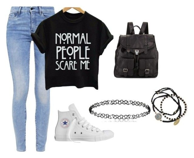"""School day"" by fashionlover4562 ❤ liked on Polyvore featuring G-Star, Converse, Feather & Stone and Proenza Schouler"
