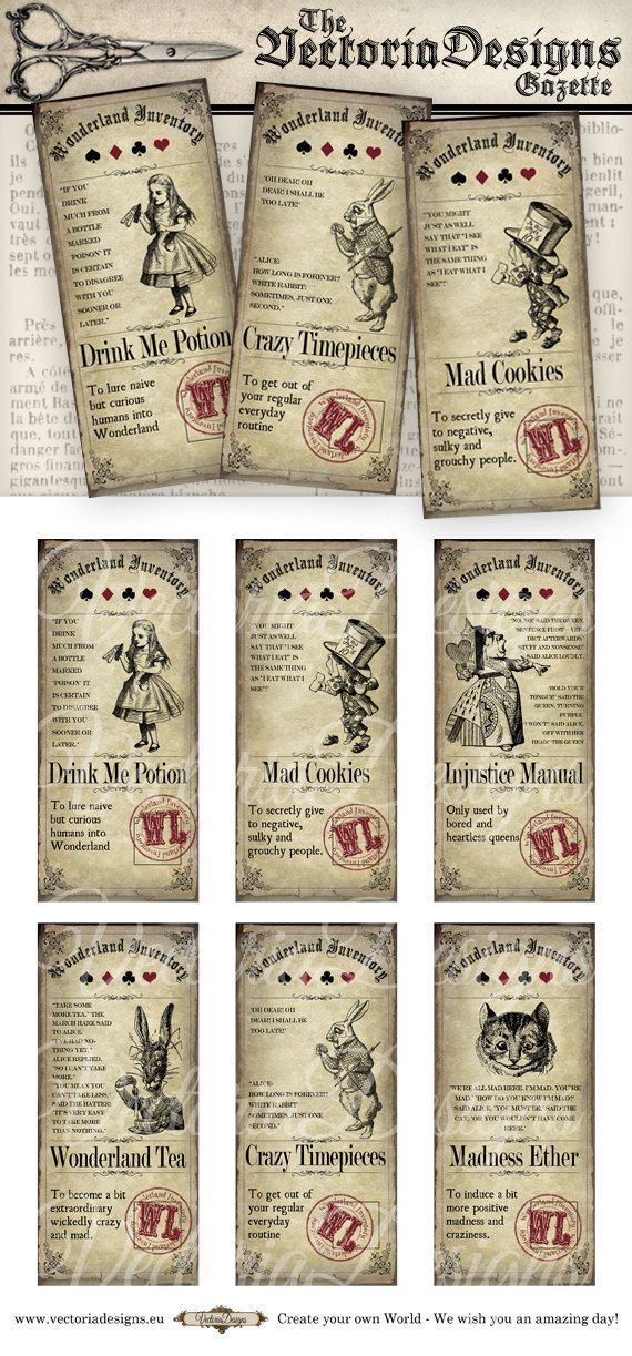 6 different Alice in Wonderland Inventory Labels - Great as a gift for any Alice lover! What you actually want to know: ° 6 high quality (300 dpi) label images on one 8.5 x 11 sheet for easy printing ° each label is 4.5 x 2 inch - 11.4 x 5.1 cm ° JPG and PDF By the way, would you like this item plus a whole bunch of other Alice in Wonderland items at a crazy price? This pack might just be what you want: www.etsy.com/listing/278182812/80-off-alice-in-wonderland-pack-sale…