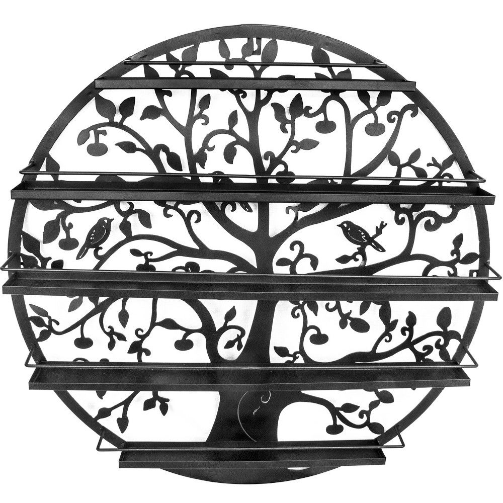 Sorbus tree silhouette black round metal wall mounted tier salon