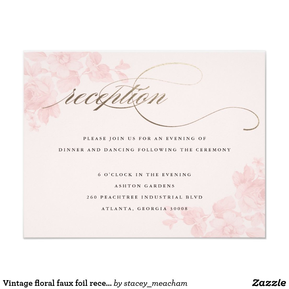 Vintage Floral Faux Foil Reception Card A Blush Floral Reception