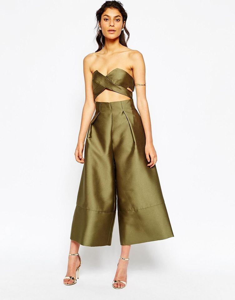 9b055360f058 Solace London   ASOS Tailored Wrap Over Crop Top Wide Leg Culotte Jumpsuit  UK 8