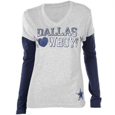 ec77084c Dallas Cowboys Womens Lindsey Layered Long Sleeve T-Shirt - Ash/Navy Blue