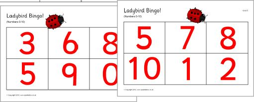 Ladybird spots bingo - numbers 0-10 (SB191) - SparkleBox | Early ...