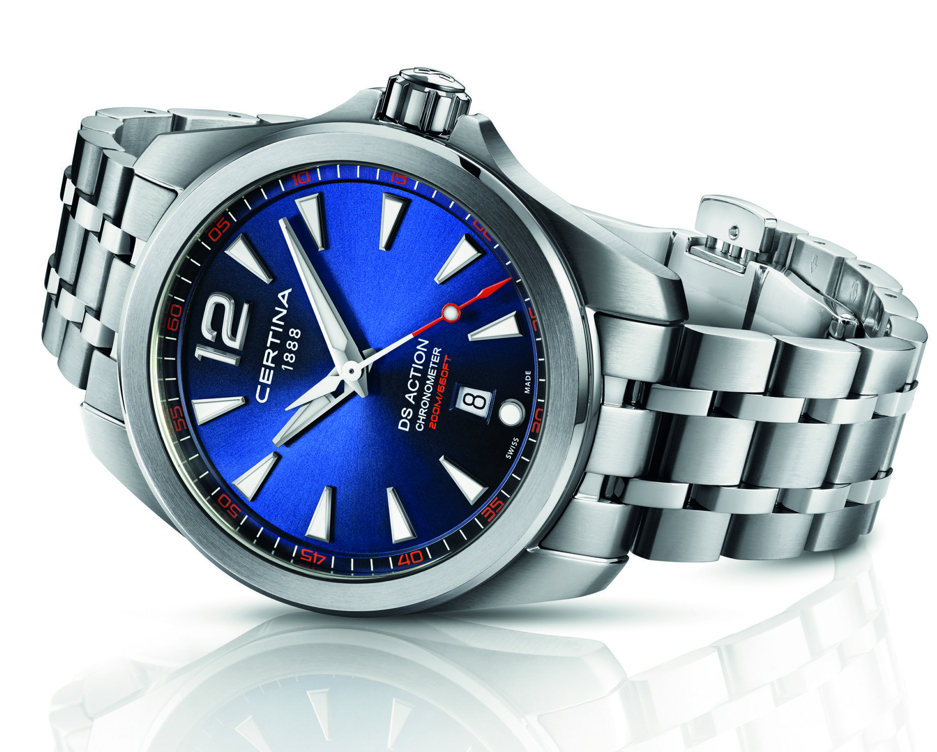 The Certina DS Action is a three hand quartz model with water resistance to 200m