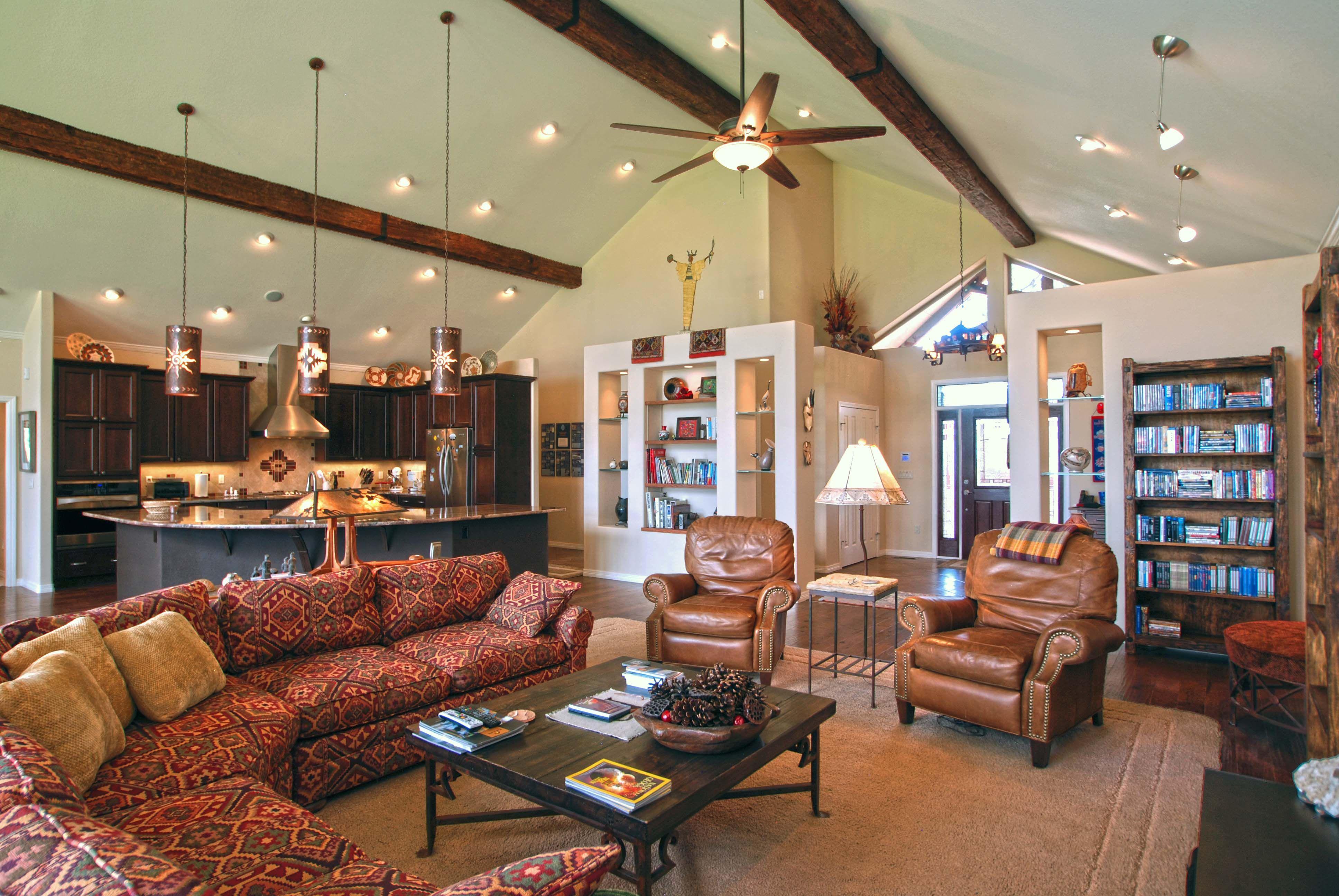 Cottage Living Vaulted Ceiling Lighting Vaulted Living Room