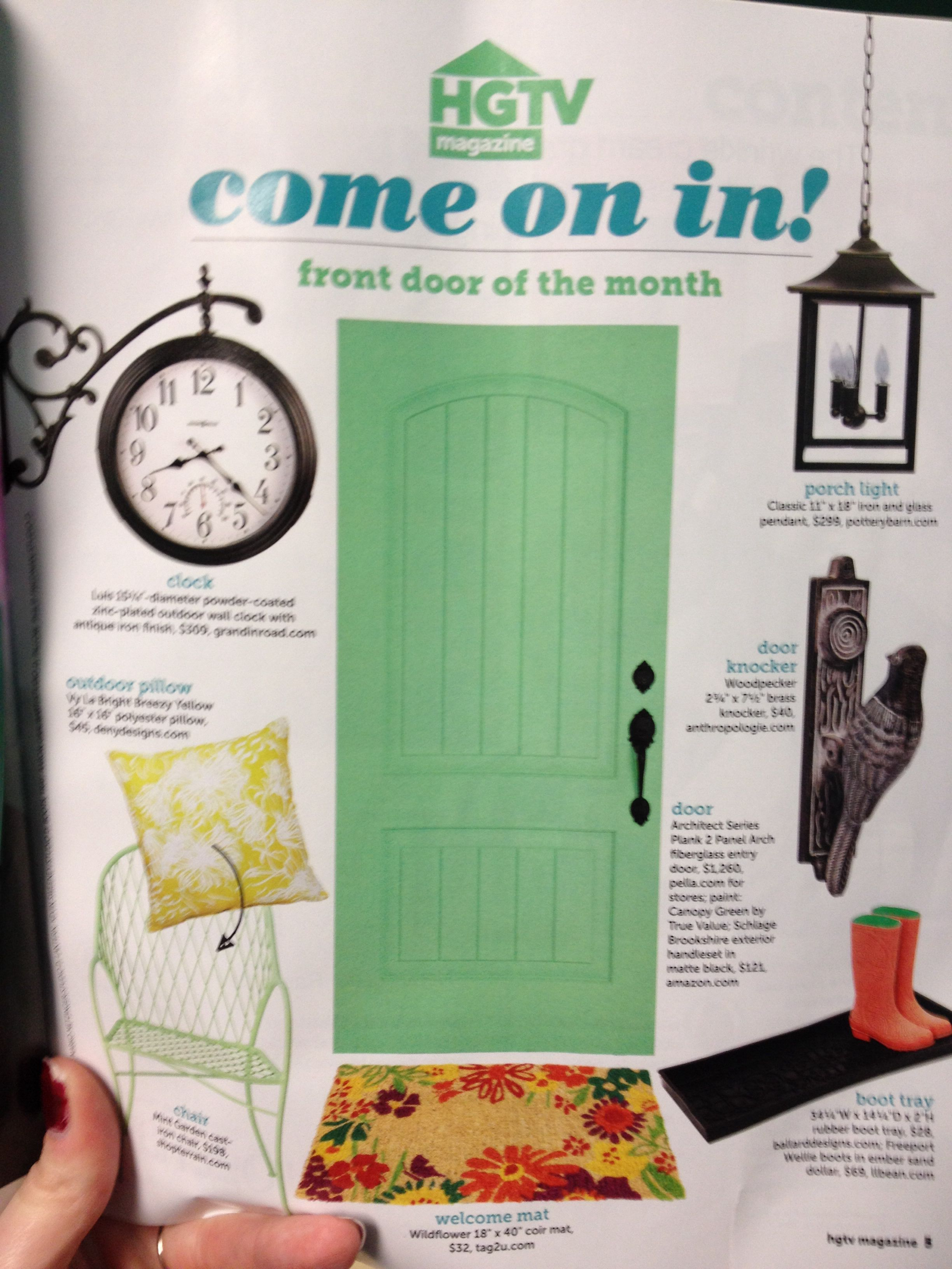 HGTV Magazine April Issue; Front Door Of The Month