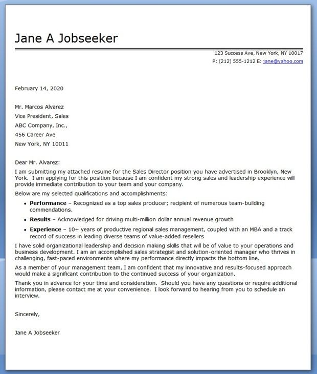 Cover Letter Sales Director Job Cover Letter Sample Resume