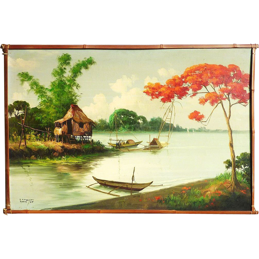 Filipino art tropical landscape painting dated 1968 signed R.P. ...