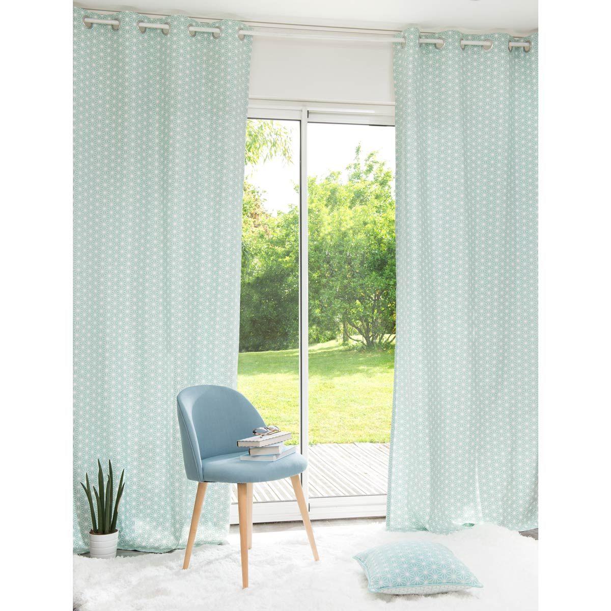 Rideau illets en coton bleu motifs graphiques 110x250 s jour pinterest rideaux for Rideau graphique