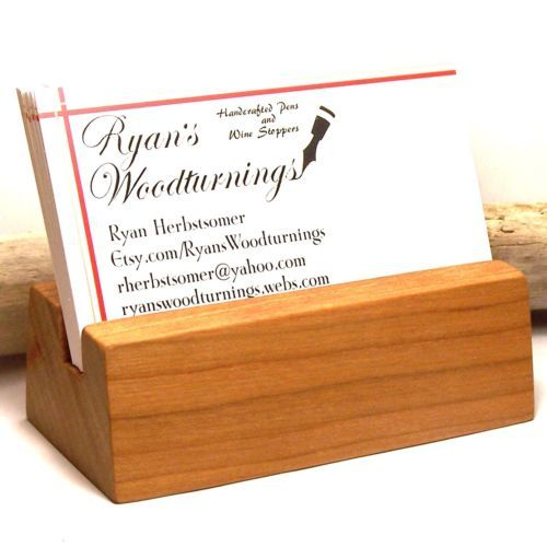 Wood card holder business card stand cherry wood ebay business wood card holder business card stand cherry wood ebay colourmoves