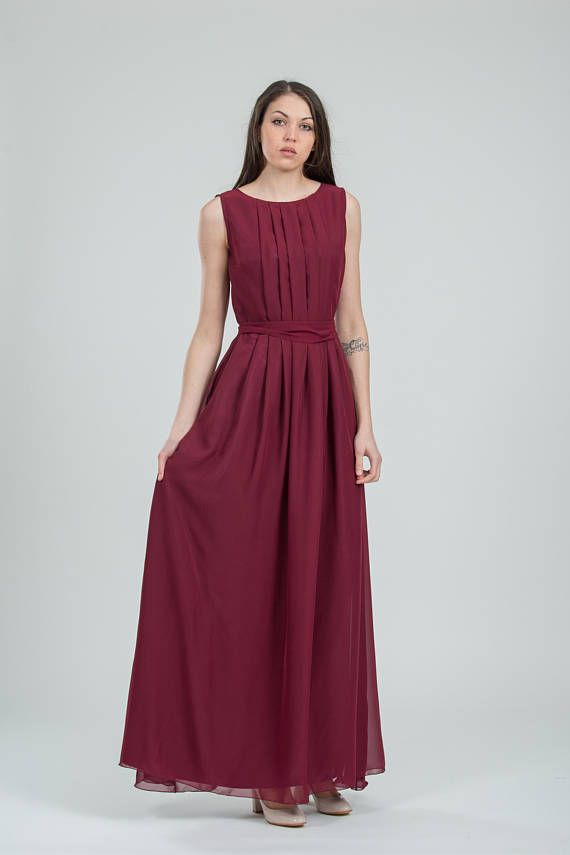 Chiffon burgundy bridesmaid dress long Grecian style prom gown ...